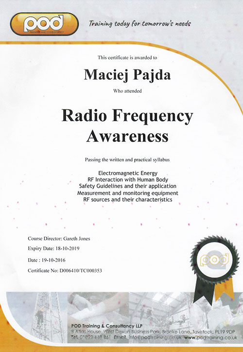 Radio Frequency Awareness - M. Pajda